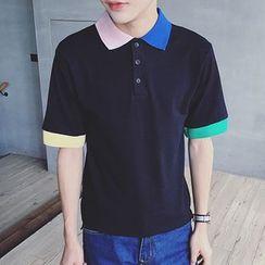 NINETTE - Short-Sleeve Contrast-Trim Polo Shirt