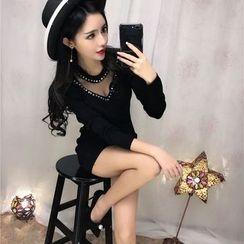 Mi Camilla - Beaded Tulle-Sleeve Sheath Party Dress