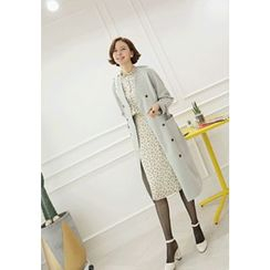 Lemite - Collarless Double-Breasted Trench Coat with Sash