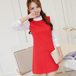 Bornite - Frill Collar Long-Sleeve Shift Dress