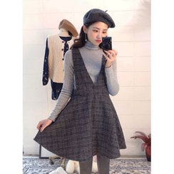 icecream12 - Glen-Plaid Check A-Line Mini Pinafore Dress