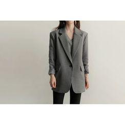 UPTOWNHOLIC - Notched-Lapel Single-Breasted Jacket