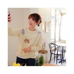 LEELIN - Floral Appliqué Sweatshirt