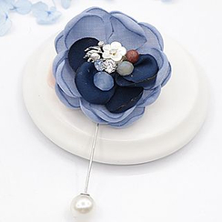 Mocca - Rhinestone Faux Pearl Flower Pin