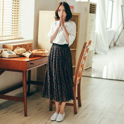 11.STREET - Floral Print Accordion Skirt