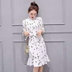 SEYLOS - Dotted Ruffle Hem Chiffon Dress