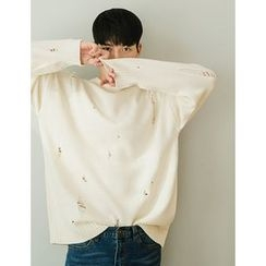 STYLEMAN - Crew-Neck Distressed Knit Top