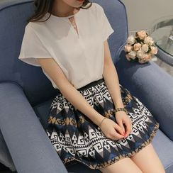 Bornite - Set: Cutout Short-Sleeve Chiffon Top + Print A-Line Skirt