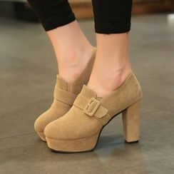Yoflap - Faux Suede Heel Ankle Boots