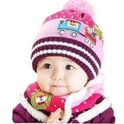 POMME - 童裝套裝: 聖誕樹貼布繡無邊帽 + 鹿貼布繡圍巾