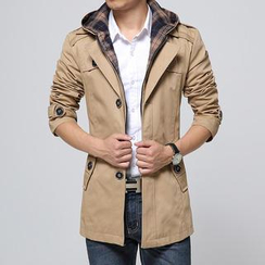 Bay Go Mall - Hooded Single-Breasted Trench Coat