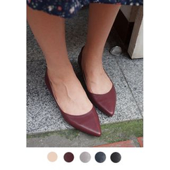 BBORAM - Pointy-Toe Kitten-Heel Pumps