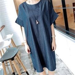 JOAMOM - Short-Sleeve Shift Denim Dress