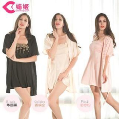 Charming Lover - Lace-Trim Robe with Nightdress