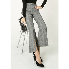 REDOPIN - Slit-Front Check Dress Pants