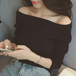 Fashion Street - Off Shoulder 3/4 Sleeve Knit Top