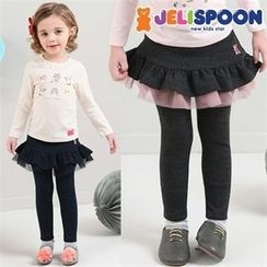 JELISPOON - Girls Inset Layered Skirt Leggings