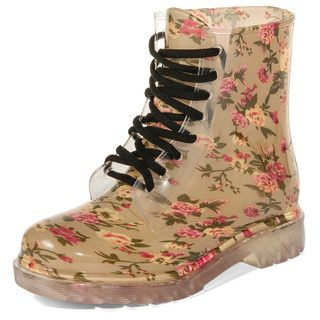 yeswalker - Floral Print Jelly Rain Boots