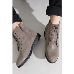 Ohkkage - Lace-Up Zip-Side Boots