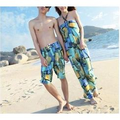 Jumei - Couple Print Maxi Sundress / Beach Shorts