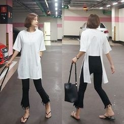 STYLEBYYAM - Open-Back Round-Neck Long T-Shirt