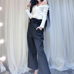 ZAPPA - Set: V-Neck Off-Shoulder Top + Wide Leg Pants
