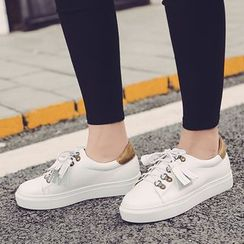 Anran - Color Panel Lace Up Sneakers