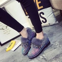 SouthBay Shoes - Glittered Furry Trim Snow Boots