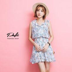 PUFII - Floral Print Chiffon Dress