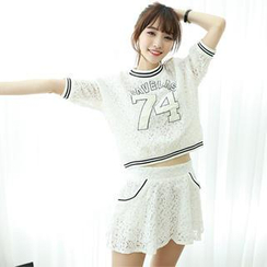 Dodostyle - Set: Lettering Lace Top + A-Line Lace Mini Skirt