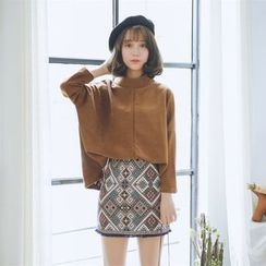 Everies - Set: Plain Pullover + Plaid Skirt