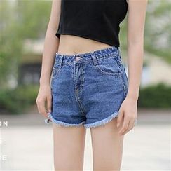 Everose - Frayed Denim Shorts