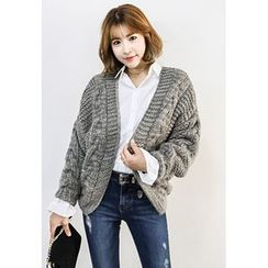 INSTYLEFIT - Open-Front Cable-Knit Cardigan