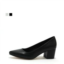 MODELSIS - Pointy-Toe Chunky-Heel Pumps
