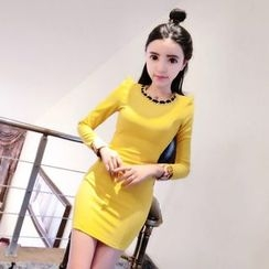 Neon Nite - Chain Detailed Long Sleeve Mini Dress