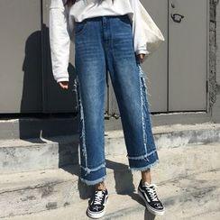 CosmoCorner - 流苏毛边水洗九分阔腿牛仔裤