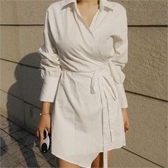 LIPHOP - Wrapped Tie-Waist Shirtdress