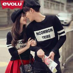 Evolu - Lettering Print Long-Sleeve Couple T-Shirt