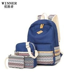 VIVA - Set: Patterned Backpack + Crossbody Bag + Pouch