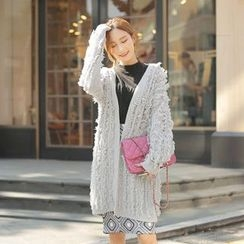 Cherryville - Open-Front Fringed Long Cardigan