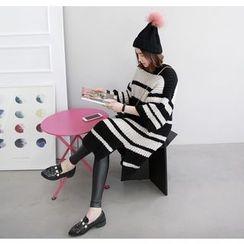 Miamasvin - 3/4-Sleeve Striped Knit Midi Dress