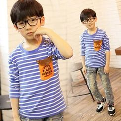 Lullaby - Kids Applique Stripe Long-Sleeve T-shirt