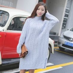 Dream Girl - Maternity Long-Sleeve Cable Knit Dress
