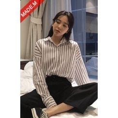 MICHYEORA - Pinstriped Loose-Fit Shirt