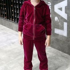 Matatabi - Kids Set: Hooded Zip Jacket + Plain Pants
