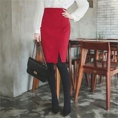 ode' - Cutout-Hem Pencil Skirt