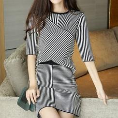Bubbleknot - Set: Stripe Panel Elbow-Sleeve Knit Top + Skirt