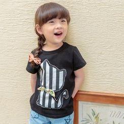 柠檬嘟嘟 - 小童细条纹猫咪短袖T恤