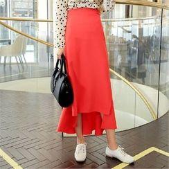 clicknme - Asymmetric Ruffled-Hem Long Skirt