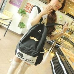 Miss Sweety - Moustache-Appliqué Canvas Backpack